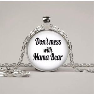 Don't Mess with Mama Bear Glass Necklace